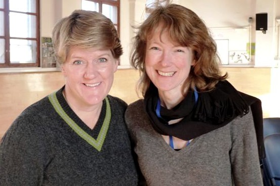 Clare Balding and Clare McGregor in the gym at Styal Prison