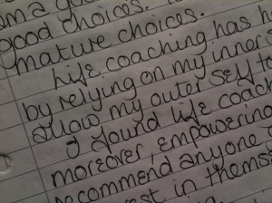 A letter from a prisoner in Styal prison to her life coach that describes when she met Terry Waite.